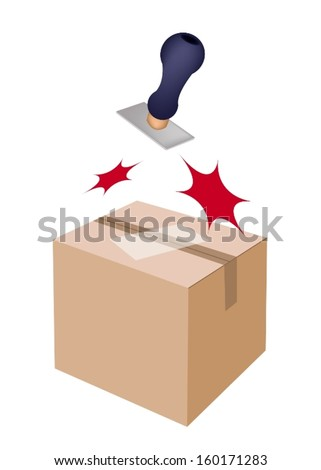 Handle Stamper Ready to Stamping on White Label and Sealed Cardboard Box Isolated on White Background.  - stock vector