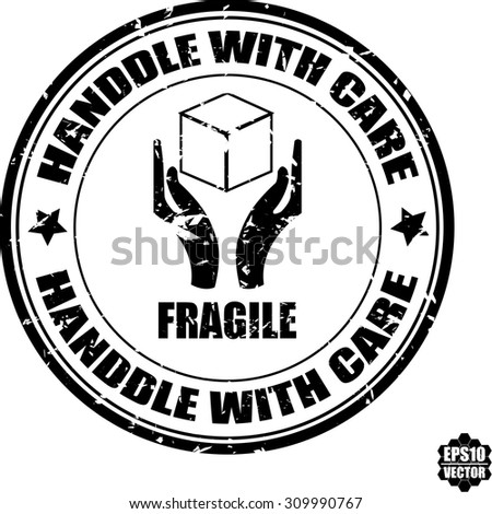 Handle With Care Circle Black Rubber Stamp On White Background With Handle Sign. Vector Illustration. - stock vector