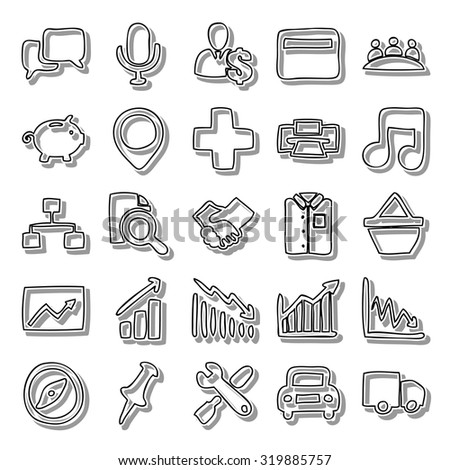 Handmade business line icon set - stock vector