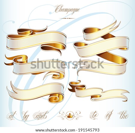 Handmade calligraphy tattoo ribbons in vector - stock vector