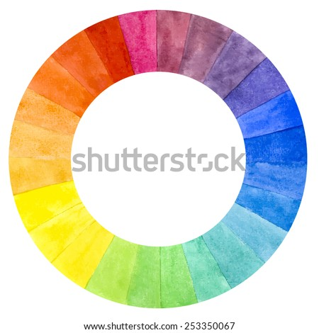 Handmade color wheel. Isolated watercolor spectrum. Vector Illustration. - stock vector