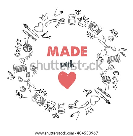 Handmade, crafts workshop, art fair and festival poster - stock vector