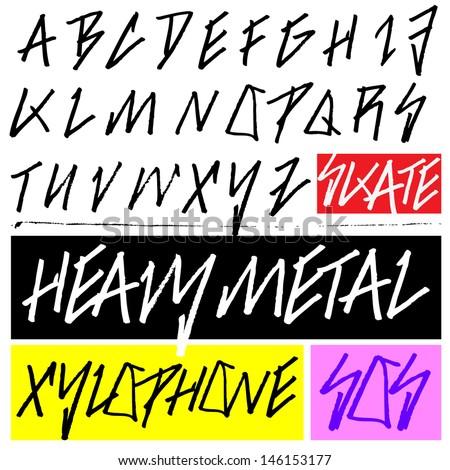 Handmade Heavy Metal Typeface  - stock vector