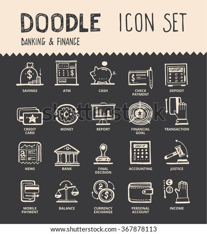 Handmade ink pen line icons set of modern banking and financial help. Solution for money projects. Creative outline symbol collection. Simple doodle linear pictogram collection.  - stock vector