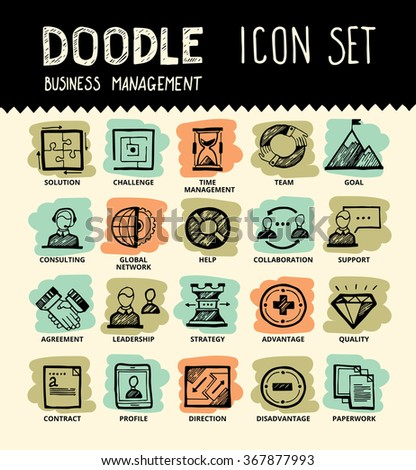 Handmade ink pen line icons set of modern business elements, solution for companies. Creative outline symbol collection. Simple doodle linear pictogram collection. Vector logo illustrations. - stock vector