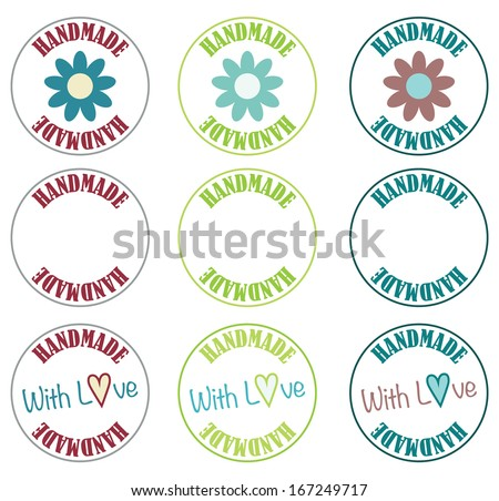 Handmade Label Set - stock vector