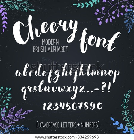 Handmade letters. Cheery handwritten alphabet with floral elements on background. Hand drawn calligraphy. Modern chalk typography. - stock vector