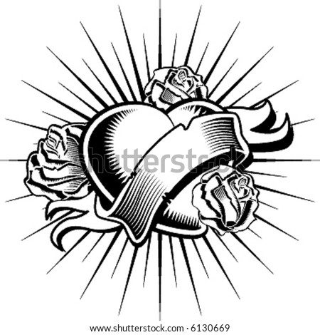 handmade loving heart, tattoo style - stock vector