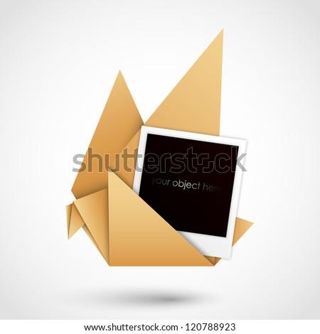 handmade paper dove with polaroid frame - stock vector