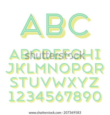 Handmade sans-serif font. Regular 3d-extruded type. Main glyph, inline shape and 3d extruded part placed in separate layers of vector file. - stock vector