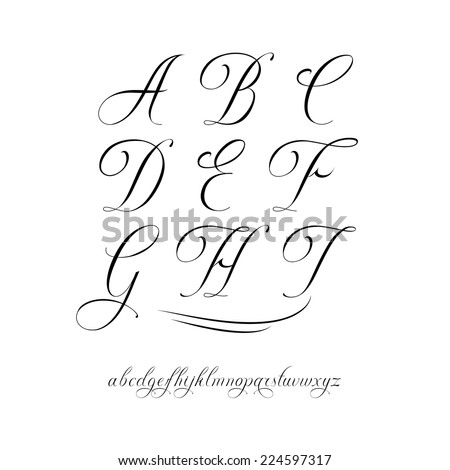 Handmade vector calligraphy tattoo alphabet - stock vector