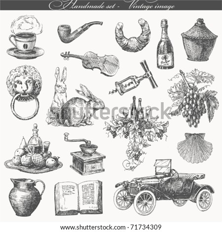 handmade work - vintage image - stock vector