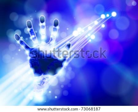 Handprint, blue technology background & & fiber optics color lights - stock vector