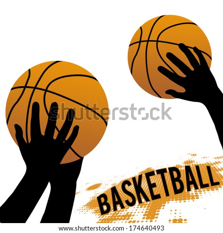 Hands and basketball isolated on white, vector illustration - stock vector