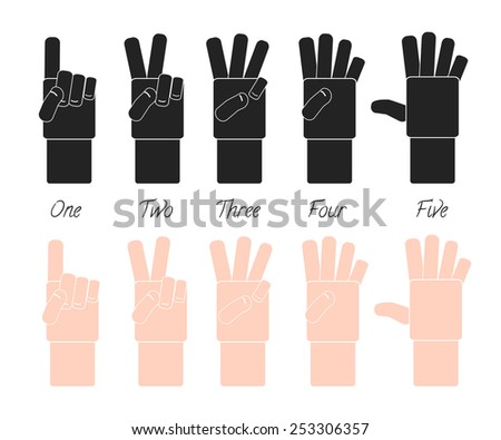 Hands and numbers - one to five. Vector hands collection over white background. - stock vector