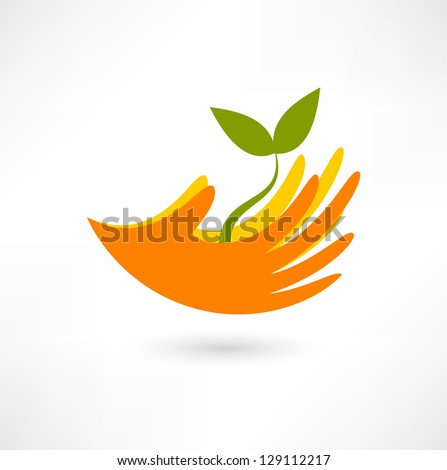Hands and plant icon - stock vector