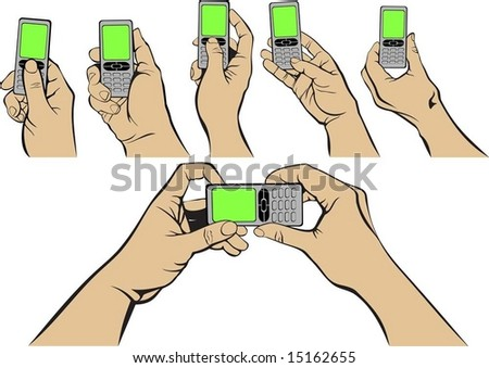 hands and rainbow mobile - stock vector