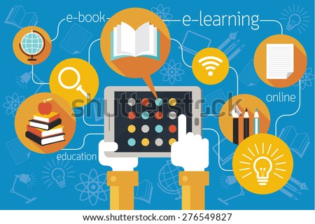 Hands and Tablet with School Online E-Learning Icons, Education, E-Book, Study - stock vector