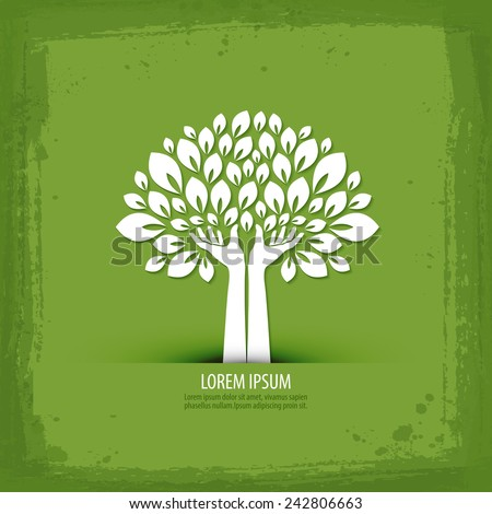 Hands and tree. logo, icon, sign, emblem, template - stock vector