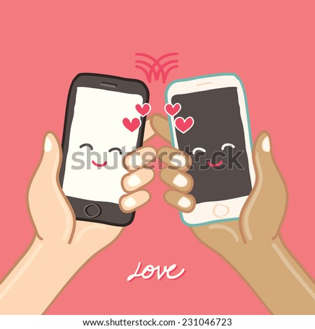 Hands are holding Smart Phone for love - freehand drawing vector Illustration - stock vector