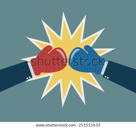 hands boxing glove business fighting concept vector - stock vector