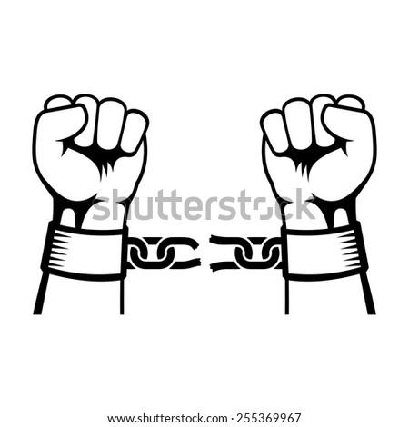 Hands Breaking Steel Chain - stock vector