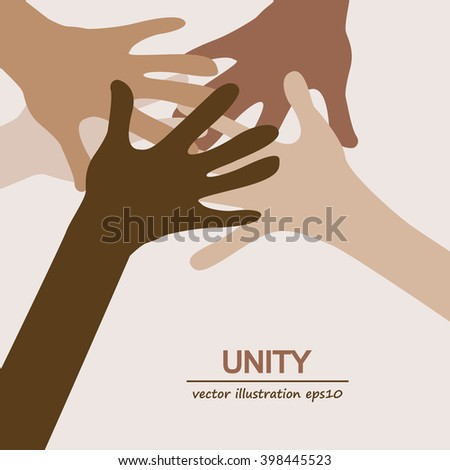 hands diverse togetherness background - stock vector