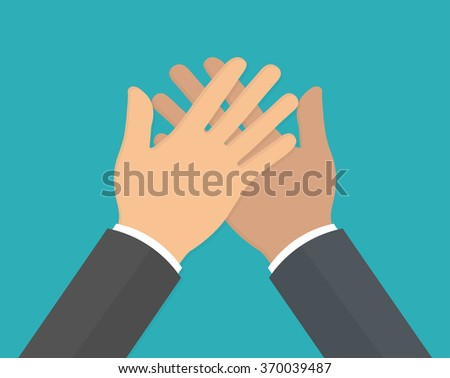 Hands doing or giving high five. Flat design - stock vector