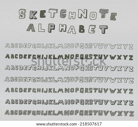 Hands drawing sketchnote alphabet on recycle paper. Vector set - stock vector
