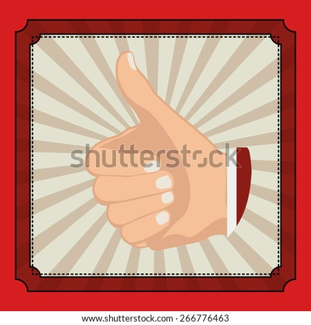 Hands gesture design over red background, vector illustration - stock vector