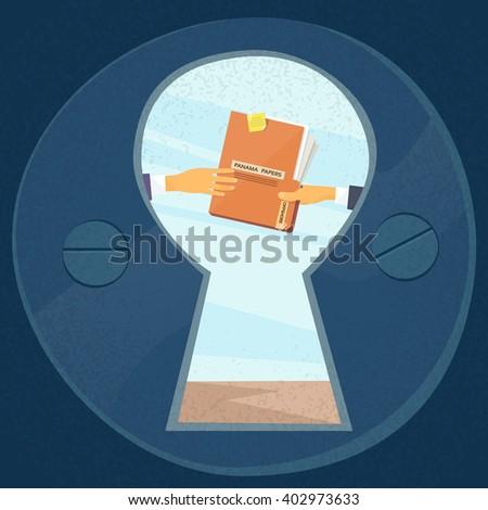 Hands Give Panama Papers Folder Secret Document, Concept View Through Door Hole Businessmen Share Information Flat Vector Illustration - stock vector