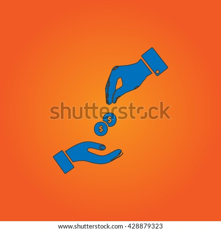 Hands Giving and Receiving Money. Blue flat icon with black stroke on orange background. Collection concept vector pictogram for infographic project and logo - stock vector