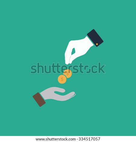 Hands Giving and Receiving Money. Colorful vector icon. Simple retro color modern illustration pictogram. Collection concept symbol for infographic project and logo - stock vector