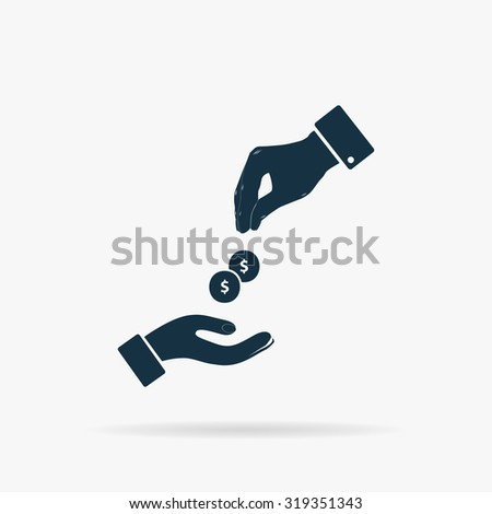 Hands Giving and Receiving Money. Flat vector web icon or sign on grey background with shadow. Collection modern trend concept design style illustration symbol - stock vector