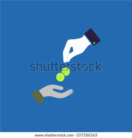 Hands Giving and Receiving Money. Icon Vector.  - stock vector