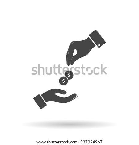 Hands Giving and Receiving Money. Icon Vector - stock vector