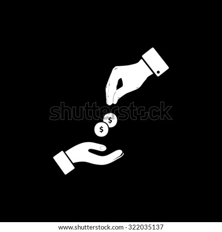 Hands Giving and Receiving Money. Simple flat icon. Black and white. Vector illustration - stock vector