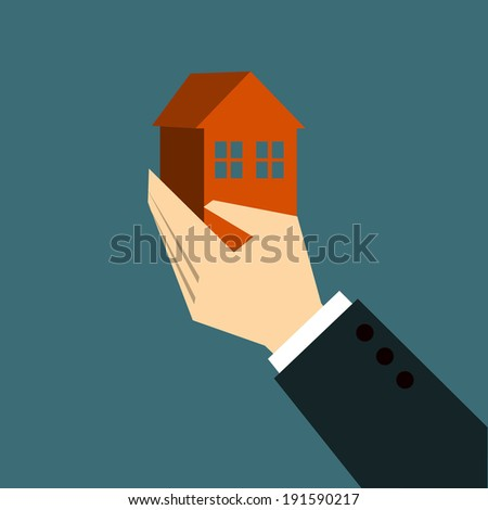 Hands Giving home - stock vector