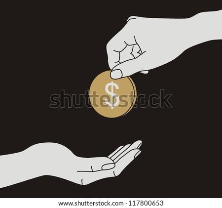 Hands Giving & Receiving Money - stock vector