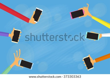 Hands Group Hold Colorful Smart Phones Copy Space Flat Vector Illustration - stock vector