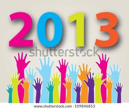 hands have reached the new year  over white background - stock vector