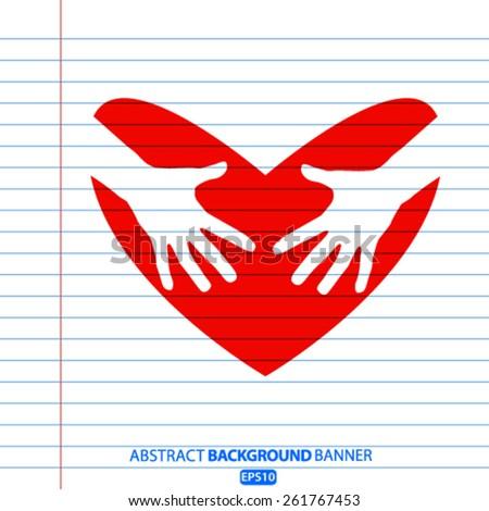 hands heart icon - stock vector