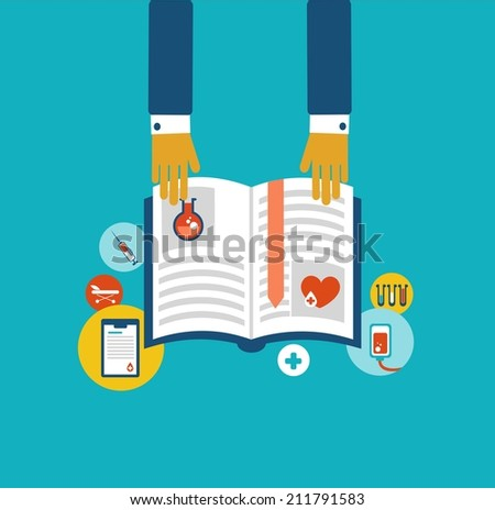 hands holding a book with information on the donation icon - stock vector