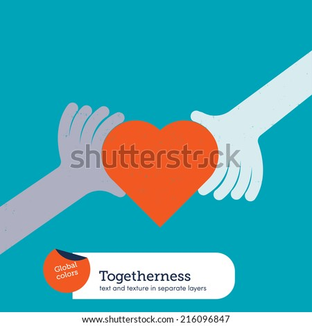 Hands holding a heart. Vector illustration Eps10 file. Global colors. Text and Texture in separate layers. - stock vector