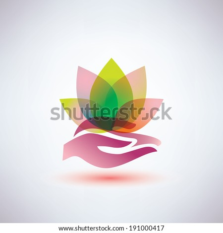 hands holding a lotus flower icon, yoga and meditation concept - stock vector