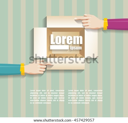 hands holding a Opened cardboard box - stock vector