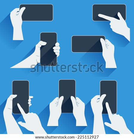 Hands holding a phone or other gadget. Flat template with long shadows. Vector illustration. - stock vector
