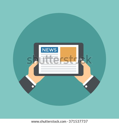 Hands holding a tablet with news. Flat vector illustration. - stock vector