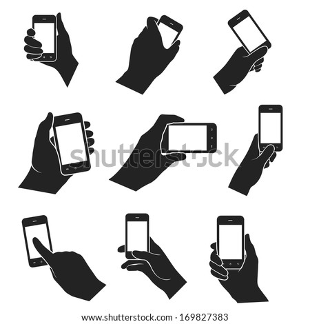 hands holding and pointing smart phone web black and white flat design icons set. vector illustration - stock vector