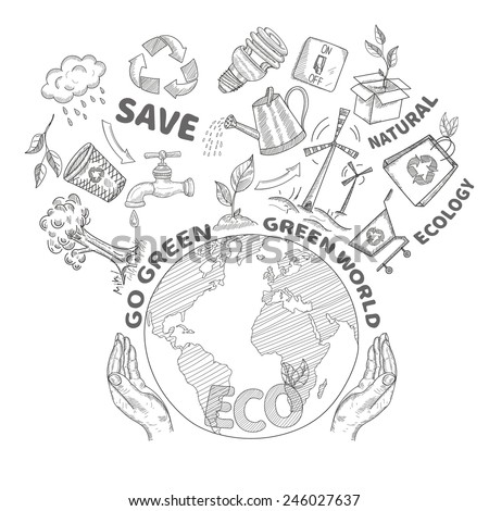 Hands holding and protecting globe environment conservation and ecology concept doodle vector illustration - stock vector